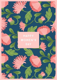 International women s day. vector template with beautiful flowers for card, poster, flyer and other users