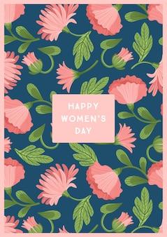 세계 여성의 날. 카드, 포스터, 전단지 및 다른 사용자를위한 아름다운 꽃 벡터 템플릿