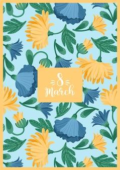 Международный женский день. векторный шаблон с красивыми цветами для открытки, плаката, флаера и других пользователей