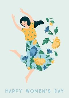 세계 여성의 날. 카드, 포스터, 전단지 및 다른 사용자를위한 춤 여자와 꽃 벡터 템플릿