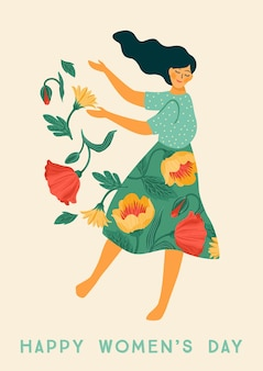 International women s day. vector template with dancing woman and flowers for card, poster, flyer and other users