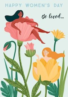 Международный женский день. векторный шаблон с женщинами и цветами для открытки, плаката, флаера и других пользователей