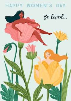 International women s day. vector template with women and flowers for card, poster, flyer and other users