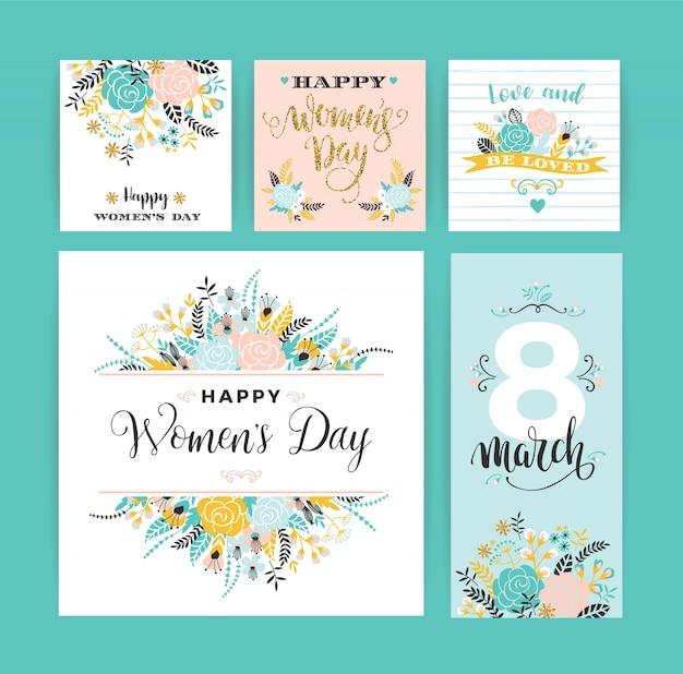 세계 여성의 날. 꽃과 글자와 벡터 템플릿입니다.