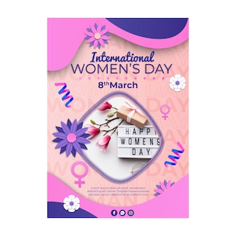 International women's day vertical flyer template with flowers and female symbol