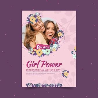 女性と花の国際女性の日の垂直チラシテンプレート