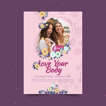 International women's day vertical flyer template with women and flowers