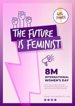 International women's day vertical flyer template