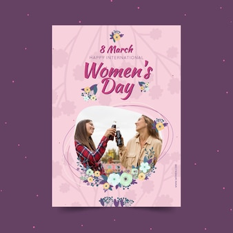 International women's day vertical poster template with women and flowers