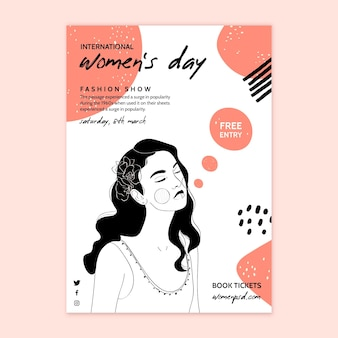International women's day vertical poster template