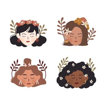 かわいい頭を持つ国際女性の日異なる民族の女性の多様な顔は花の冠のイラストを身に着けています。