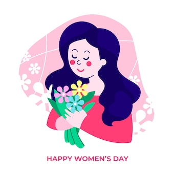International women's day with female holding flowers