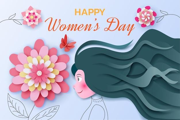 Международный женский день с девушкой и цветами в бумажном стиле
