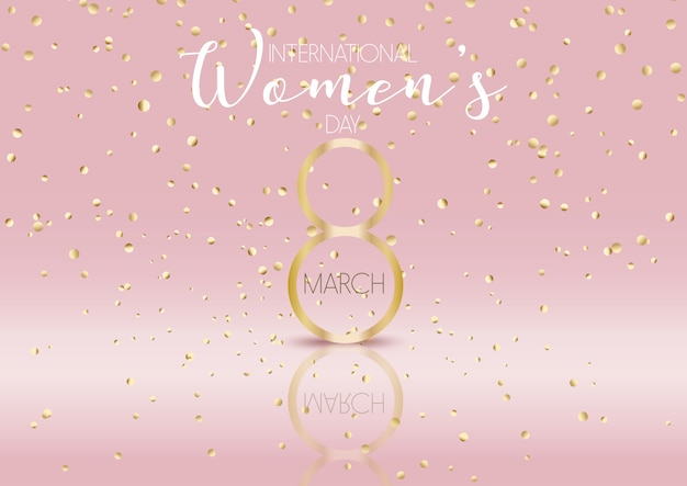 International womens day background with gold confetti