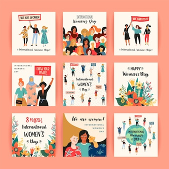 International womens day. card templates with women of different nationalities and cultures
