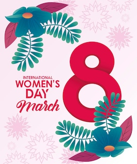 International womens day celebration poster with flowers and number eight  illustration