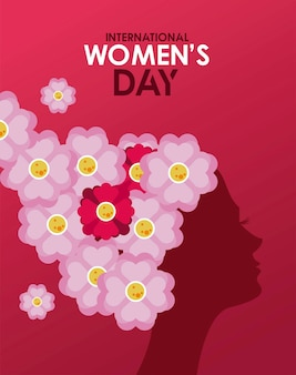 International womens day celebration poster with girl profile and flowers hair  illustration