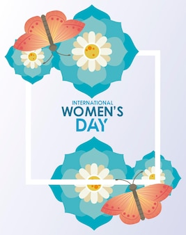 International womens day celebration poster with lettering and butterflies in flowers  illustration