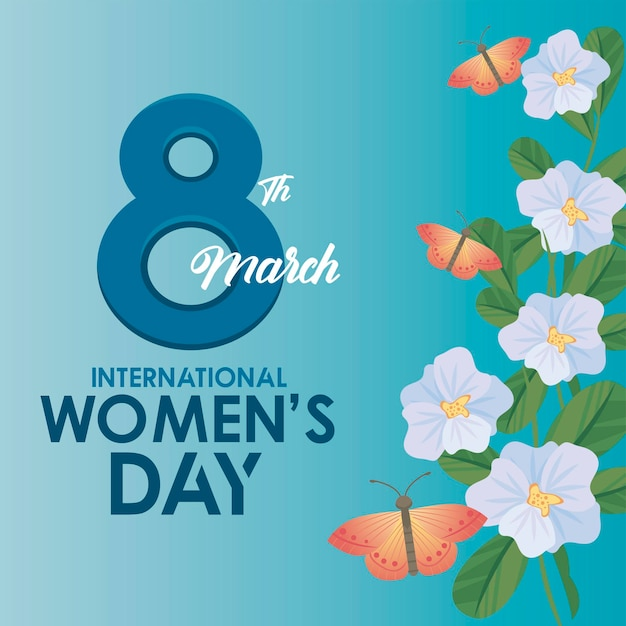 International womens day celebration poster with lettering and butterflies in garden  illustration