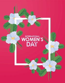 International womens day celebration poster with lettering in floral square frame  illustration