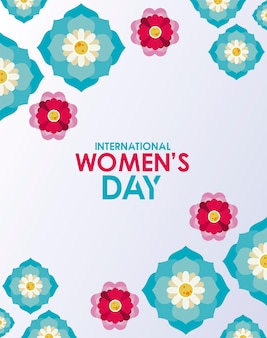 International womens day celebration poster with lettering and flowers garden  illustration