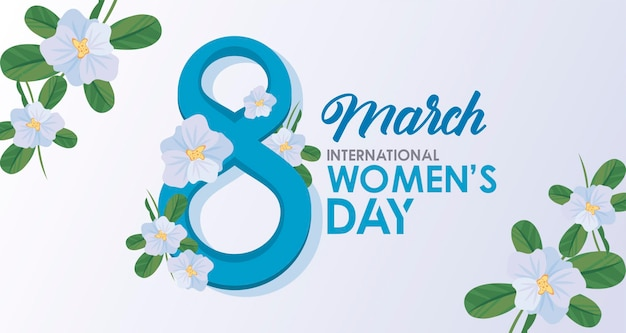 International womens day celebration poster with lettering and flowers lile  illustration