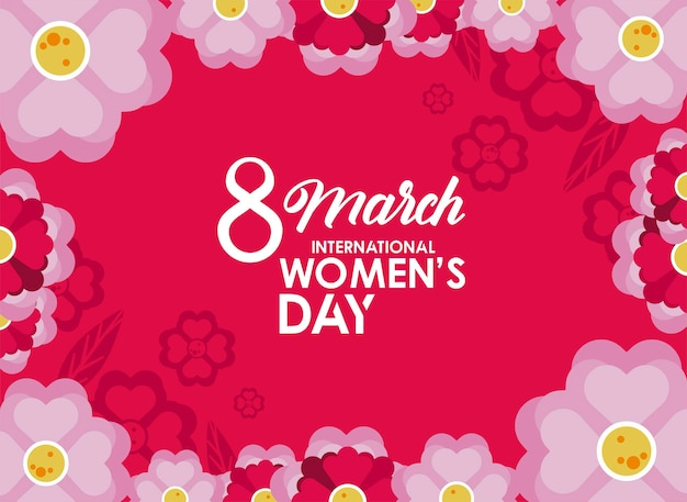 International womens day celebration poster with lilac flowers in pink background  illustration
