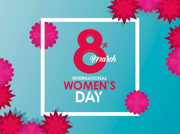 International womens day celebration poster with number eight and flowers  illustration