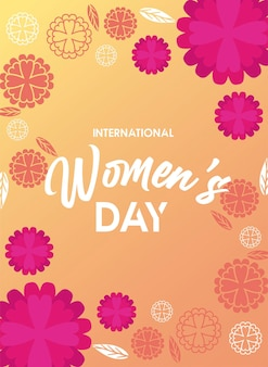 International womens day celebration poster with yellow flowers and lettering  illustration