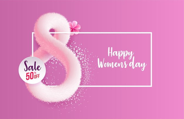 International womens day greeting card made in form of realistic pink fluffy tinsel