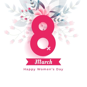 International womens day greeting flowers background