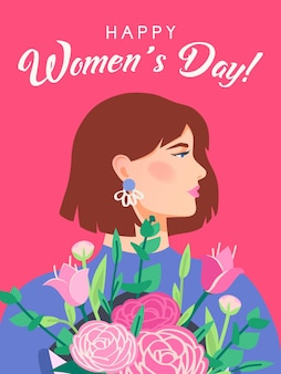 International womens day. happy womens day, march 8. greeting card template with woman profile portrait. girl holding a bouquet. postcard or poster for the spring holiday. .