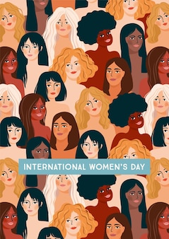 International womens day. illustration with women different nationalities and cultures.