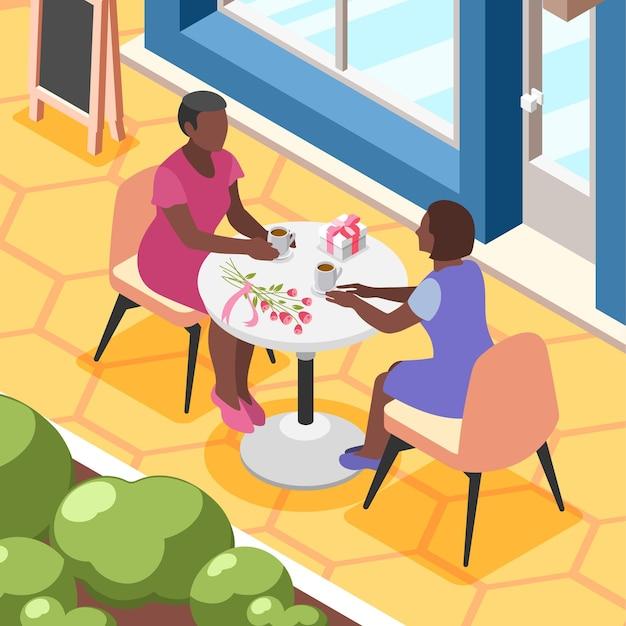 테이블 삽화에 앉아 있는 여성들이 있는 야외 카페의 전망을 갖춘 국제 여성의 날 아이소메트릭 배경 구성