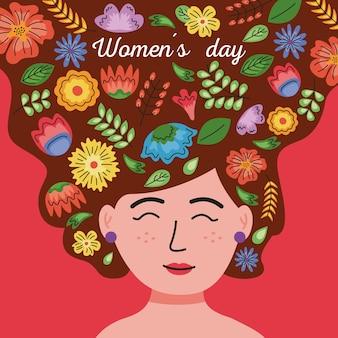 Открытка с надписью международного женского дня в женских волосах с цветочным декором