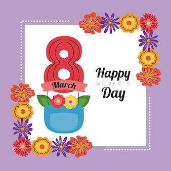 International womens day lettering card in ribbon with eight number and floral frame  illustration