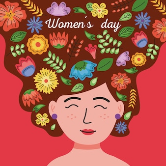 International womens day lettering card in the woman hair with floral decoration  illustration