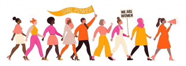 国際婦人デー。さまざまな国籍や文化の女性とイラストレーション。