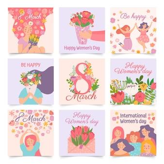 Международный женский день. плакаты со счастливой танцующей женщиной и весенними цветами, празднующими 8 марта. комплект вектора букета владением женщины шаржа. конверт с тюльпанами, поздравительные открытки веселым девушкам