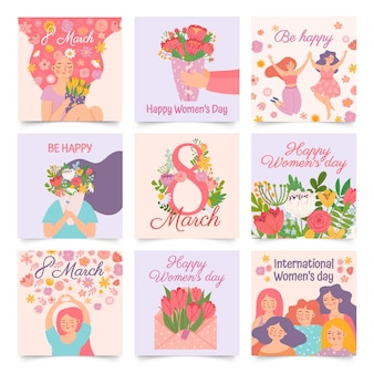 International womens day. posters with happy dancing woman and spring flowers celebrating 8 march. cartoon female hold bouquet vector set. envelope with tulips, cheerful girls greeting cards