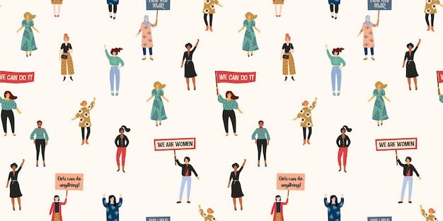 国際婦人デー。さまざまな国籍や文化の女性とのシームレスなパターン。自由、独立、平等のための闘争。