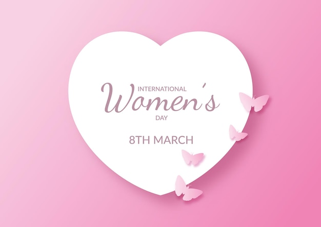 International womens day with heart and butterflies