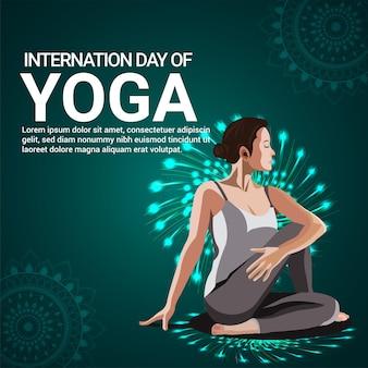 International yoga day background with illustration