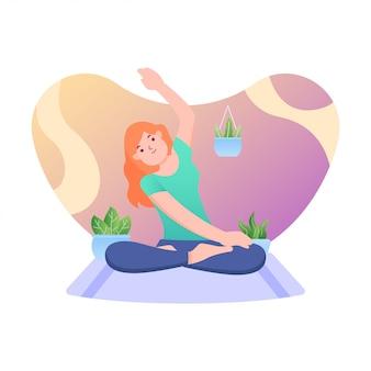 Международный день йоги плоский дизайн иллюстрация