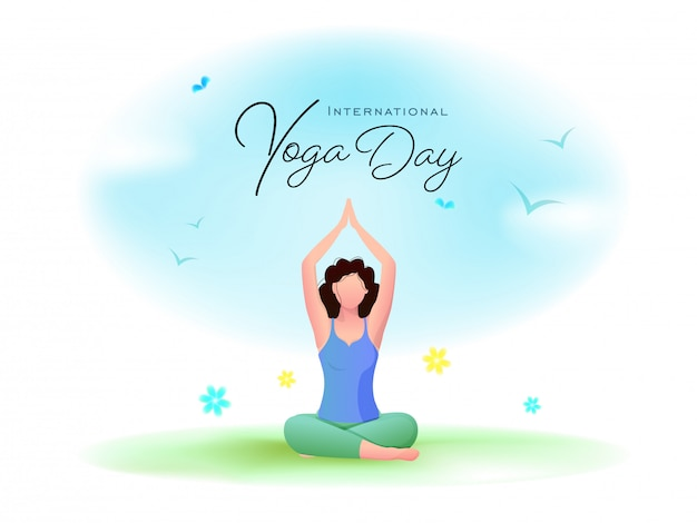 International yoga day font with cartoon young woman meditating in lotus pose and flying birds on glossy background.