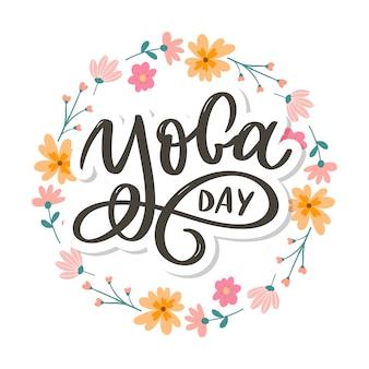 International yoga day.hand drawn inscription.