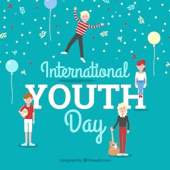 Sfondo di giornata internazionale di giovani con palloncini e confetti
