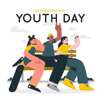 国際青少年デーのコンセプトイラスト