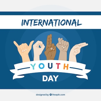 International youth day fund with hand gestures