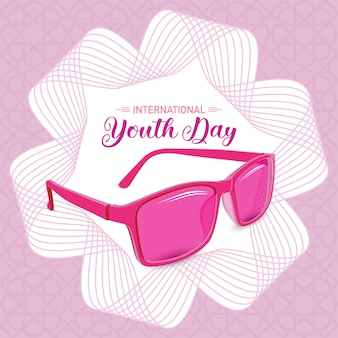 International youth day pink sunglass symbolic young with line art background